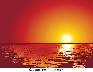 illustrazioni, tramonto, o, alba, mare
