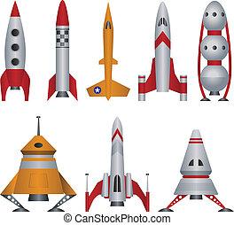 illustrazioni, vettore, astronave