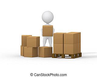 image., persone, boxes., portante, piccolo, cartone, 3d