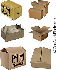 imballaggio, cartone, scatole, set, isola