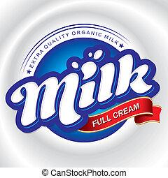 imballaggio, disegno, latte, (vector)