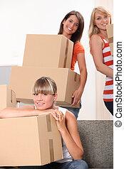 imballaggio, scatole, flat-mates, femmina, tre