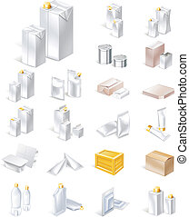 imballaggio, set, icona