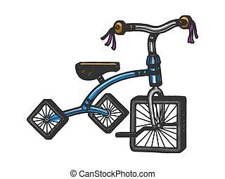 imitation., illustration., ruote, image., t-shirt, incisione, stile, abbigliamento, asse, design., vettore, disegnato, quadrato, graffio, schizzo, stampa mano, triciclo, bambini