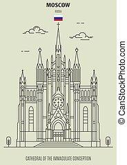 immacolato, cattedrale, concezione, punto di riferimento, russia., icona, mosca