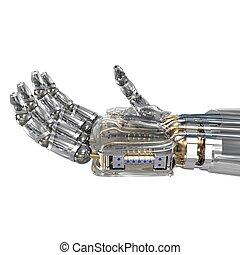 immaginario, oggetto, robot, tenendo mano