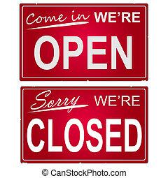 """immagine, affari, signs., """"open"""", """"closed"""""""