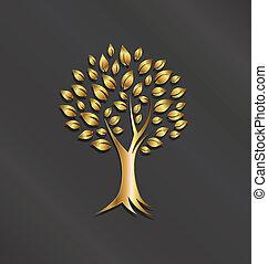 immagine, albero, oro, logotipo, pianta