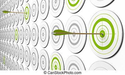 immagine, around., questo, un po', frecce, due, targets., grigio, verde, prospettiva, centro, obiettivi, 3d, colpire, là
