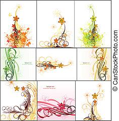 immagine, astratto, set, vettore, flowers.