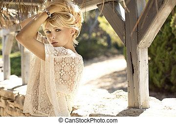 immagine, biondo, moda, ragazza, sensuale
