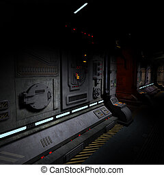 immagine, bord, fondo, corridoio, spaceship., scuro