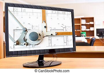 immagine, cianografie, monitor, schermo, computer desktop, asse, disegno