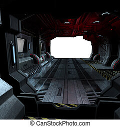 immagine, comporre, dentro, o, scifi, fondo, astronave, futuristico