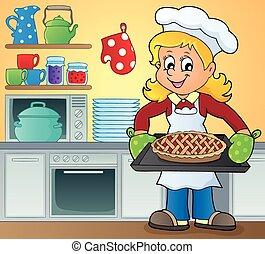 immagine, cuoco, femmina, tema, 9