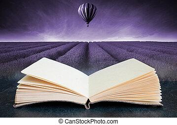 immagine, estate, balloon, campo tramonto, paesaggio, libro, caldo, toned, composito, aria, aperto, concettuale, lavanda