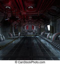 immagine, futuristico, o, comporre, dentro, fondo, interpretazione, scifi, 3d, astronave