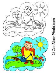 immagine, gardener., coloring.