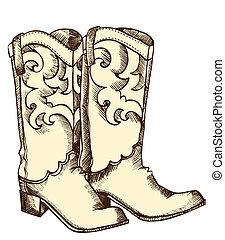 immagine, grafico, .vector, stivali, cowboy