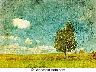 immagine, grunge, albero, fondo, vendemmia