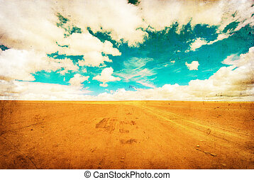 immagine, grunge, deserto, strada