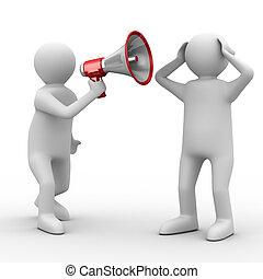 immagine, isolato, megaphone., oratore, parla, 3d