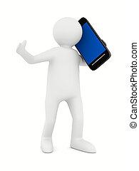 immagine, isolato, telefono, white., uomo, 3d