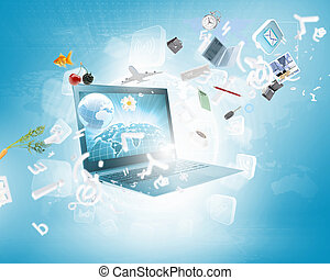 immagine, laptop, fondo