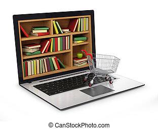 immagine, library., internet, concettuale, e-imparando, educazione, o
