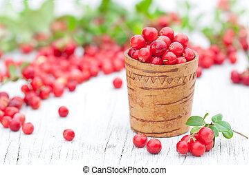 immagine, macro, fresco, legno, vecchio, tazza, cowberry