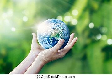 immagine, mani, presa a terra, elementi, terra, nasa, ammobiliato, proteggere, natura, fondo, questo