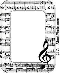 immagine, note, musica, cornice