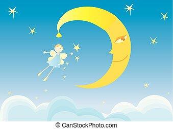 immagine, notte, elfo, ragazza, volare, vettore, cielo