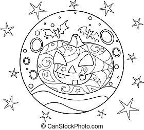 immagine, -, outline., halloween, antistress, luna, zucca, lineare, fondo, pieno, vettore, cricco, pipistrelli, coloring., anti-stress, luna, stelle, coloritura, patterns., libro, lanterna