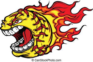 immagine, palla, softball, grida, fastpitch, faccia, vettore, fiamme