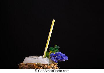 immagine, pieno, ingredients., estate, macro, tazza, succoso, cocktail., fondo., luminoso, nero, ananas, originale, bevanda