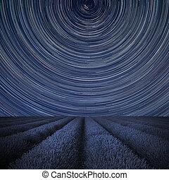 immagine, piste, campo, intorno, paesaggio digitale, tramortire, stella, composito, polaris, lavanda