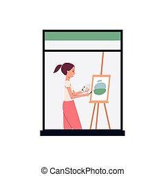 immagine, pittura, cavalletto, artista, finestra, -, donna, cartone animato, casa