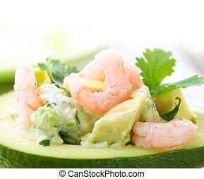 immagine, primo piano, avocado, salad., gamberi