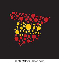 immagine, puntino, logotipo, linee, spagna, mappa