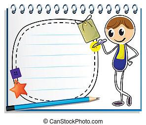 immagine, ragazzo, scrittura, quaderno