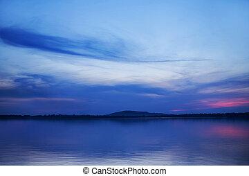 immagine, sopra, arte, lago, tramonto