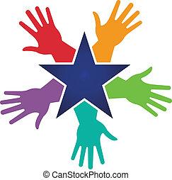immagine, stella, intorno, mani