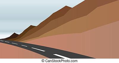 immagine, strada, scena, montagne