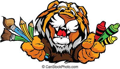 immagine, tiger, vettore, mascotte, cartone animato, prescolastico, felice