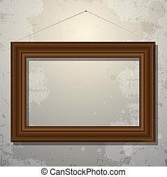 immagine, vecchio, cornice legno, parete, vuoto