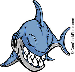 immagine, vettore, mascotte, cartone animato, squalo