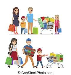 immagine, vettore, shopping, gruppi, persone