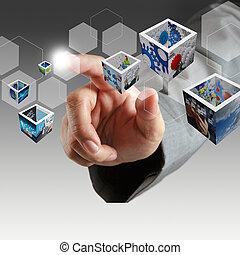 immagini, affari, tocco, virtuale, mano, 3d, bottone