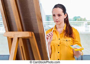 immagini, disegno, studio, studente, artista, giovane